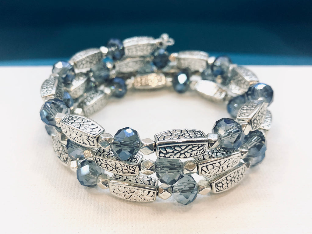 Silver Wrap Bracelet with Sapphire Blue beads