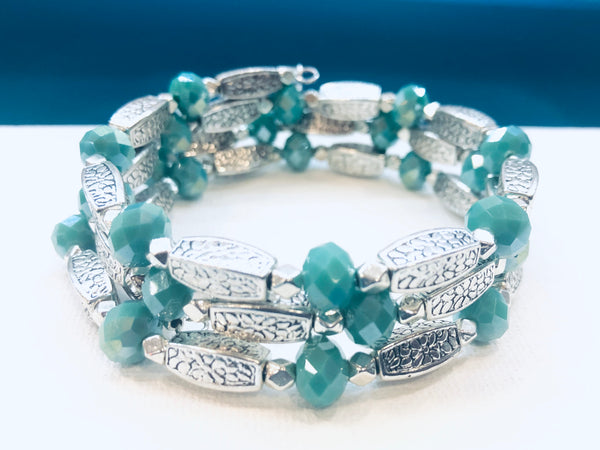 Silver Wrap Bracelet with Turquoise Blue beads
