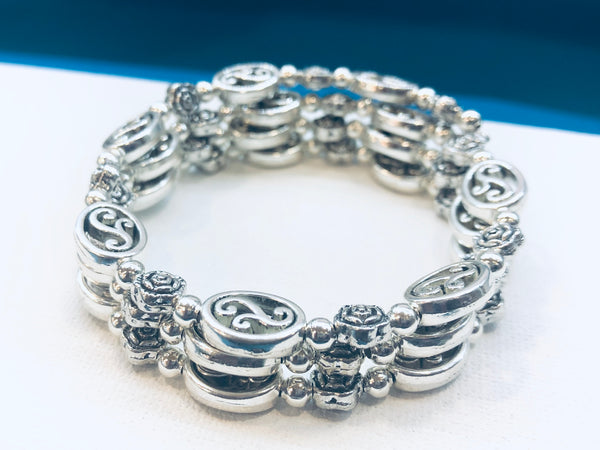 Silver Wrap bracelet with flower designs