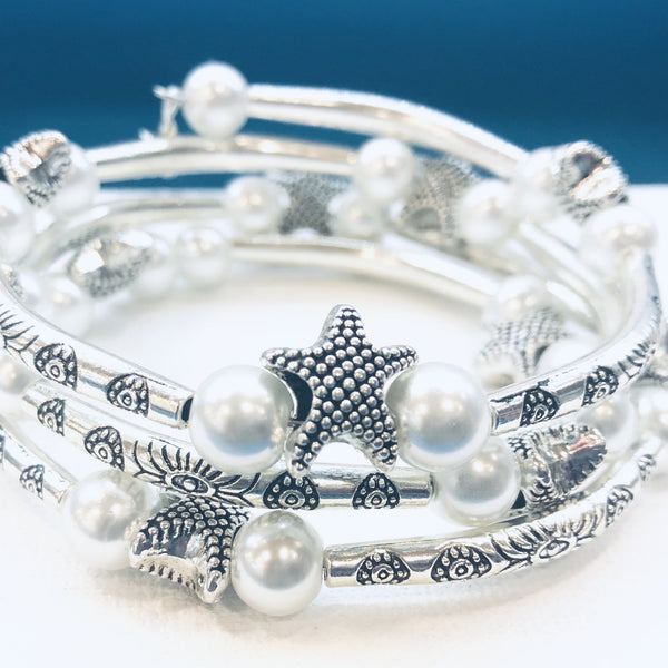 Silver and Pearl Starfish Wrap Bracelet
