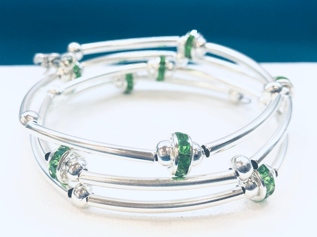 Silver Wrap Bracelet with Green Rhinestones