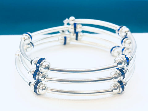 Silver Wrap Bracelet with Dark Blue Rhinestones