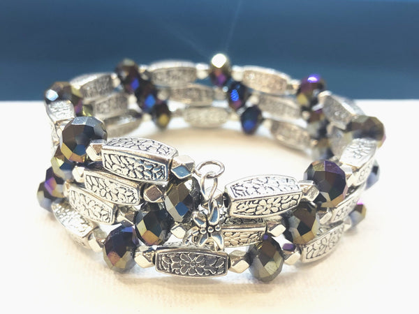 Silver Wrap Bracelet with Midnight Blue beads
