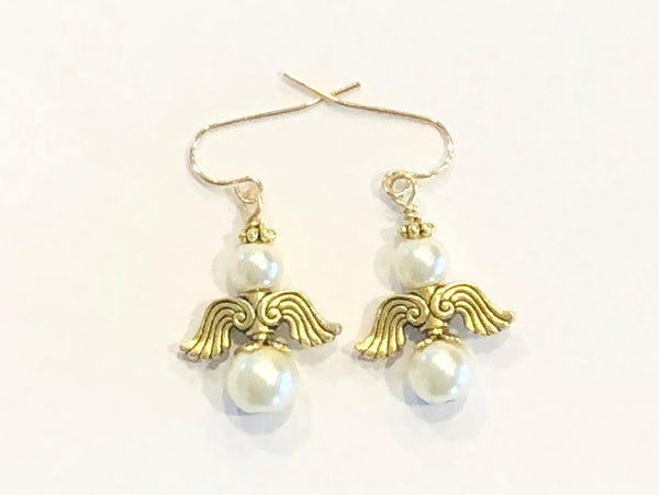 Pearl and Gold Angel Swarovski Earrings