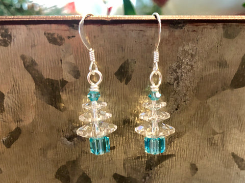 Turquoise Swarovski Christmas Tree earrings