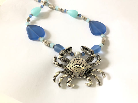 Mr Crab Blue Sea Glass Necklace