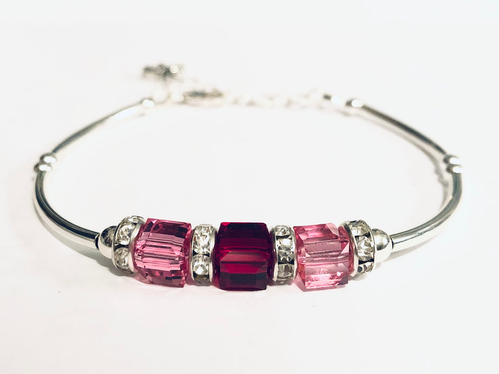 Custom Mother Grandmother Sterling & Swarovski Birthstone Bracelet
