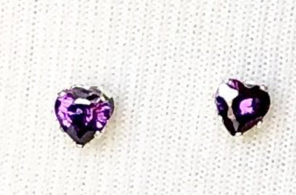 Amethyst Sterling Silver Heart Earrings