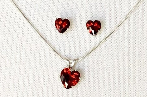 Garnet Red Sterling Silver Heart Earrings