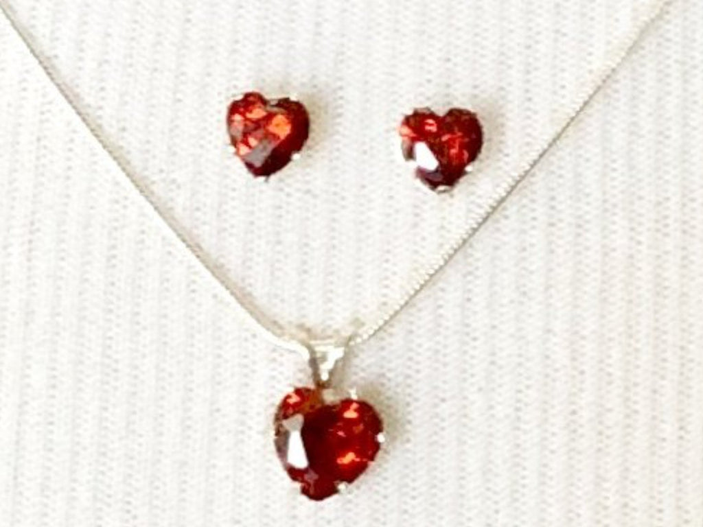 Garnet Red Sterling Silver Heart Pendant Necklace