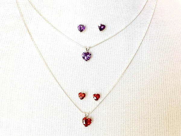 Amethyst Sterling Silver Heart Pendant Necklace