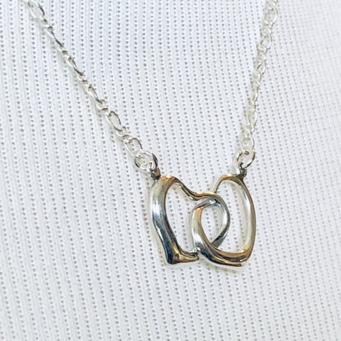 Dainty Double Heart Sterling Silver Valentine's Necklace