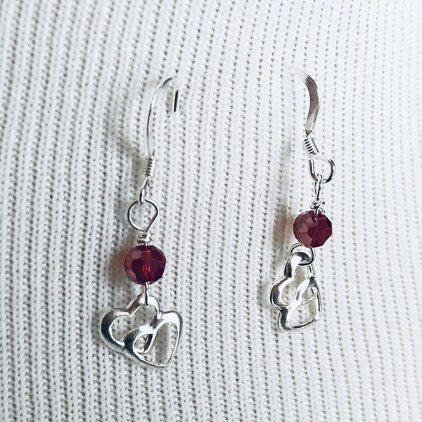 Dainty Red Double Heart Sterling Silver Valentine's Earrings