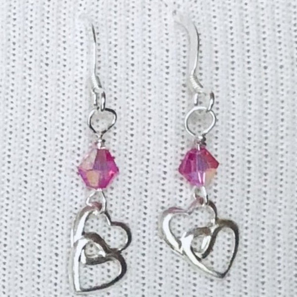 Dainty Pink Double Heart Sterling Silver Valentine's Earrings