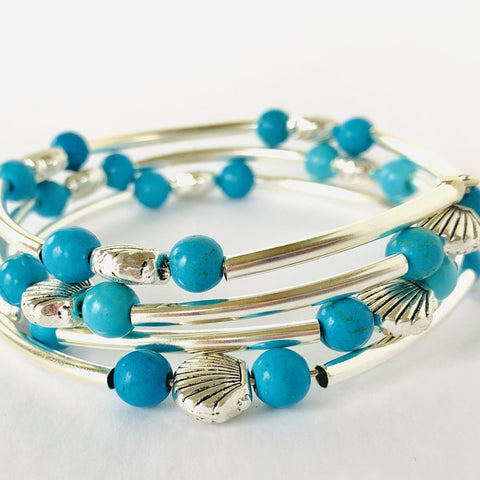 Turquoise and Shell Wrap Bracelet