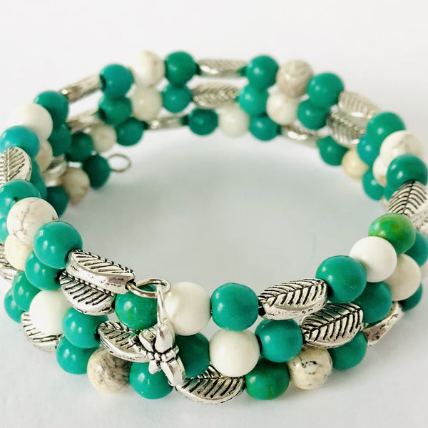 """Leaf"" it to Me - Jade Green, White and Silver Wrap Bracelet"