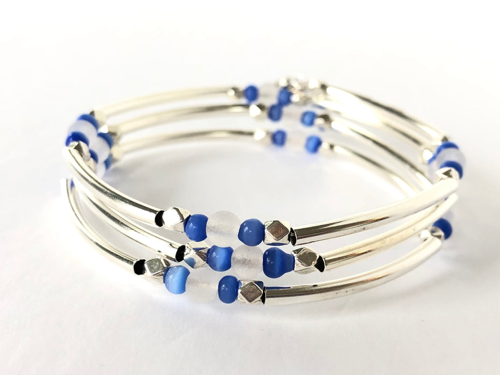 Blue and White Sea Glass Silver Wrap Bracelet