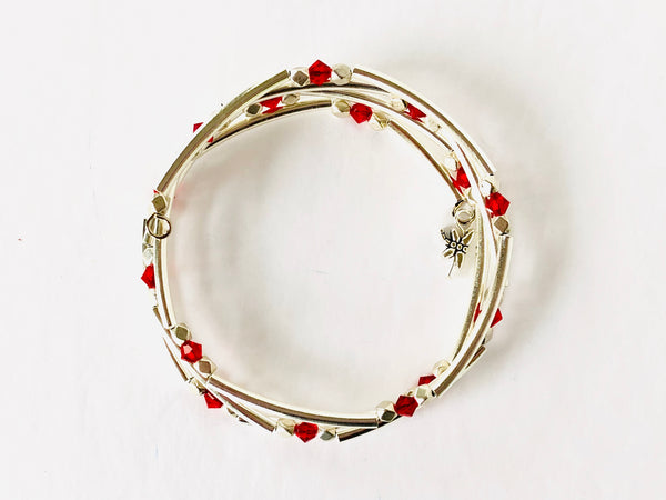 Ruby Red Silver Wrap Bracelet