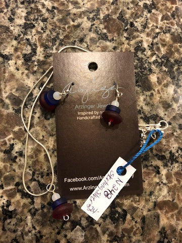 red white blue sea glass earrings