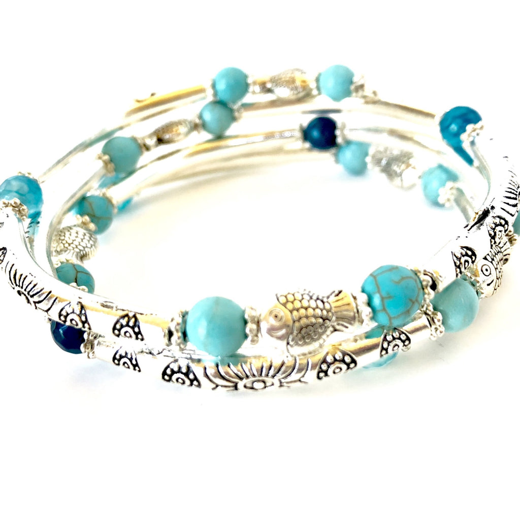 Fishy, Fishy Bracelet- Silver and Blues