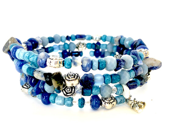 Denim Flowers Wrap Bracelet
