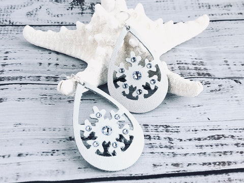Let it Snow Leather Snowflake Earrings