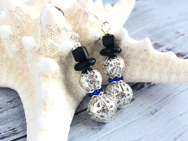 Silver and Blue Snowman Earrings