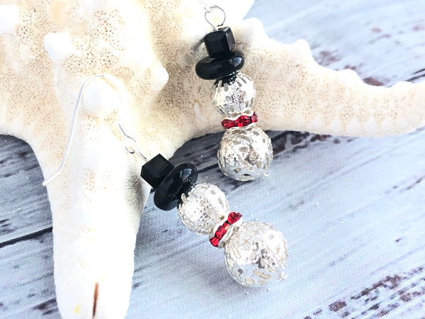 Silver and Red Snowman Earrings