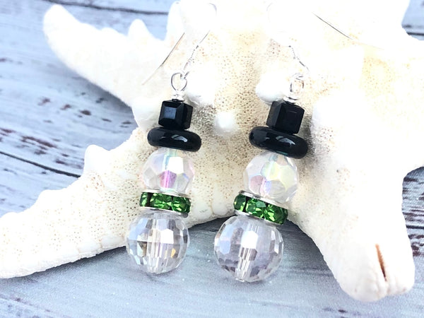 Snowman Earrings - Clear and Green