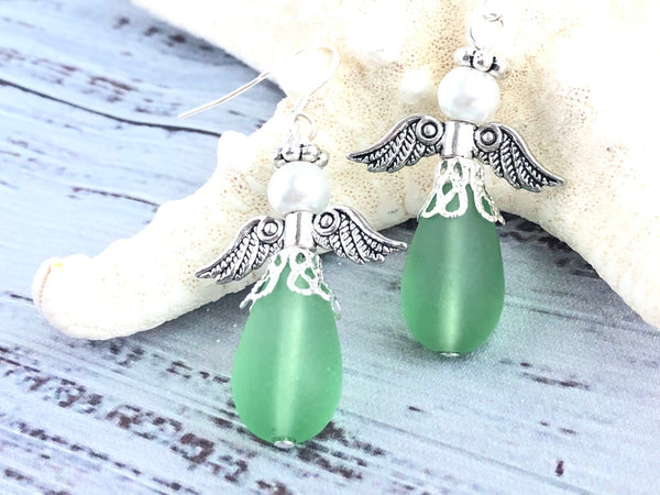 Green Sea Glass Angel Swarovski Earrings