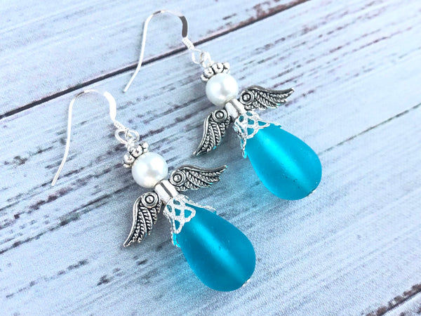 Turquoise Sea Glass Angel Swarovski Earrings
