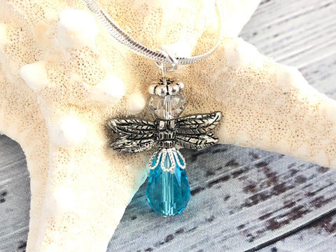 Turquoise Blue Angel Swarovski Necklace
