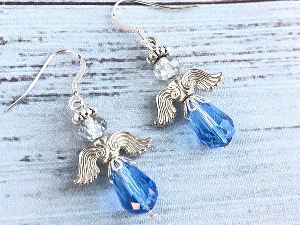 Blue Sapphire Angel Swarovski Earrings