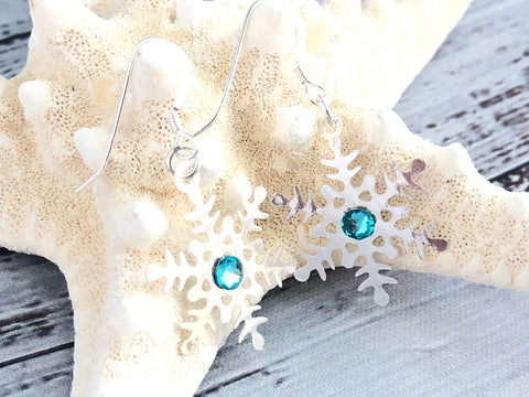 Turquoise Swarovski Silver Snowflake Earrings