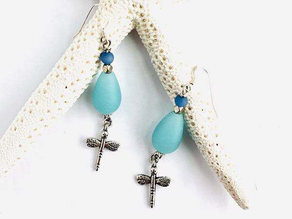 The Blues Sea Glass Dragonfly Earrings - C