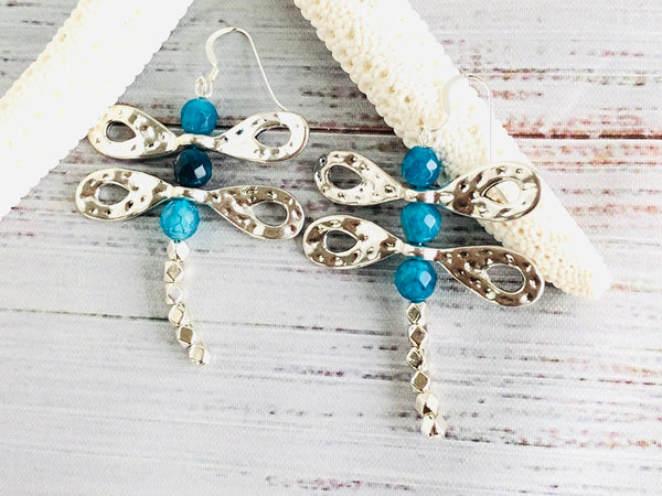 Blue Agate Dragonfly Earrings