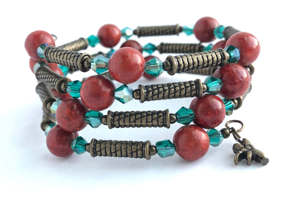 Boho Chic Red and Teal Wrap Bracelet