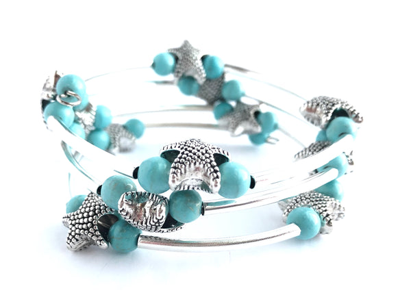 Turquoise and Starfish Silver Wrap Bracelet