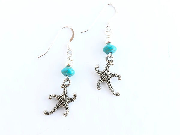 Turquoise and Starfish Silver earrings
