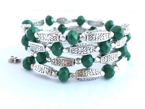 Green and Silver Adjustable Wrap Bracelet