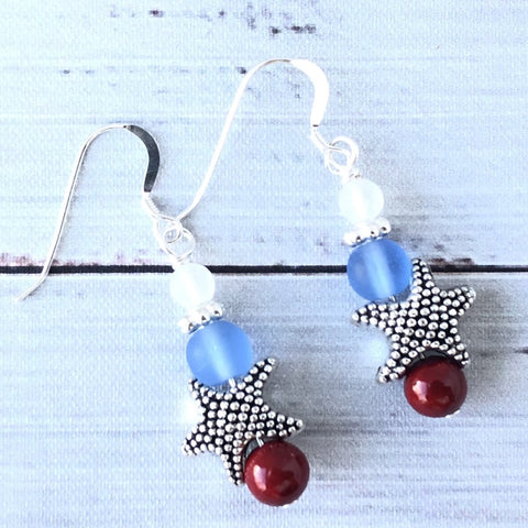 Star Spangled Banner Sea Glass Earrings
