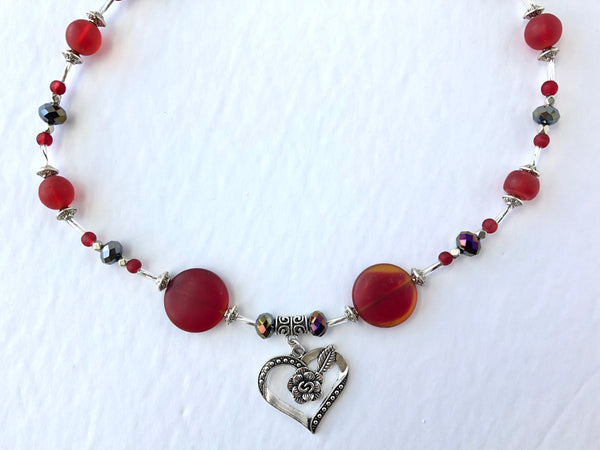 Red Sea Glass Heart Necklace