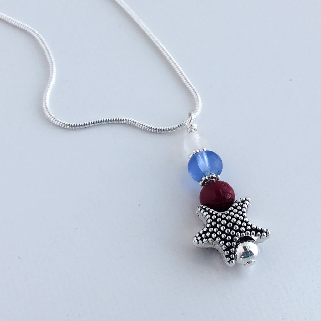 Star Spangled Banner Sea Glass Necklace