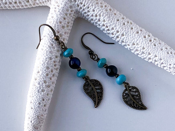 Antique Bronze andTurquoise Leaf Earrings