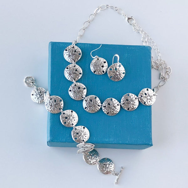 Sand Dollar Complete Set - Necklace, Bracelet and Earrings