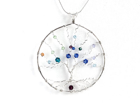 Grandmother / Mother Sterling Custom Swarovski Birthstone Pendant