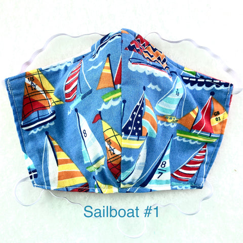 Sailboat Face Mask, 100% Cotton