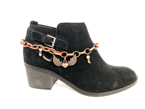Copper Chain Boot Bling with Angel Wings