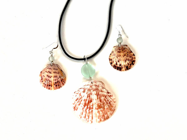 Calico Scallop Shell Sea Glass Earrings