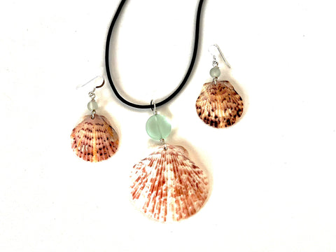 Calico Scallop Shell and Sea Glass Necklace